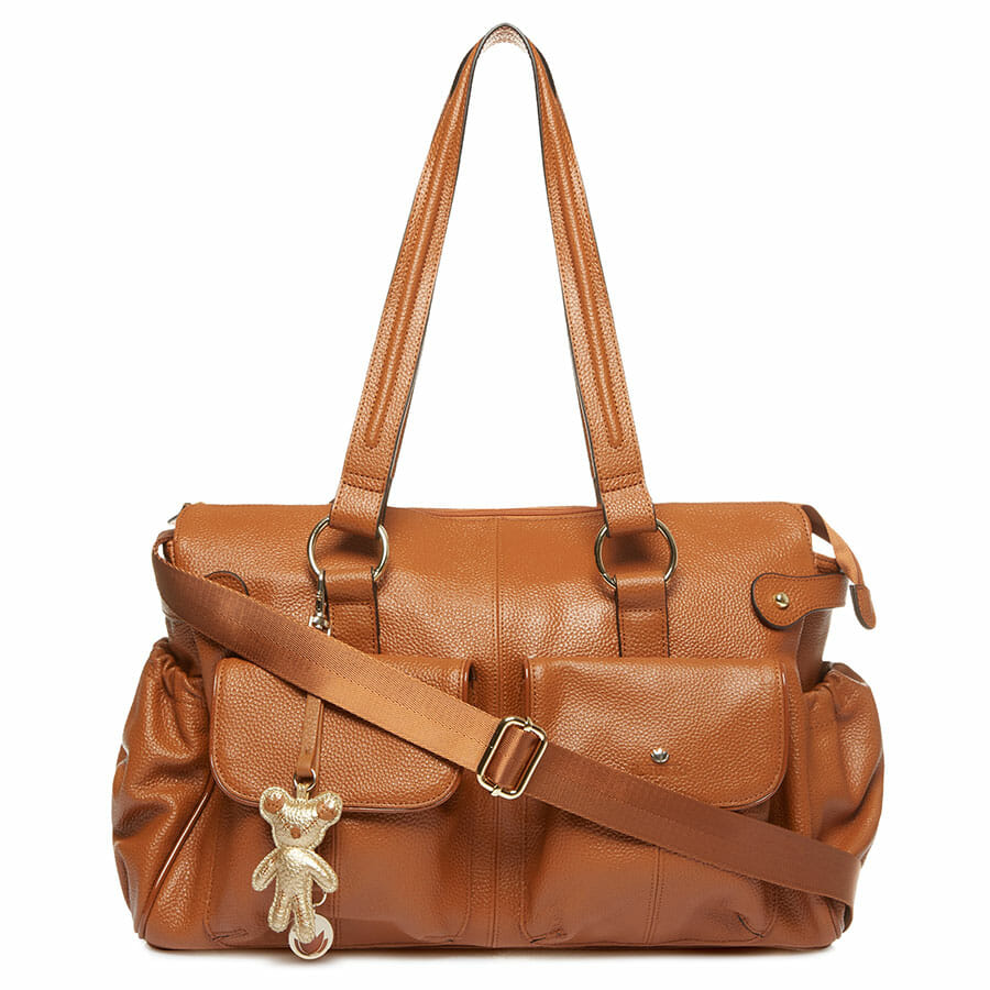 Il Tutto Mia Leather Tote Baby Bag Tan front with long strap
