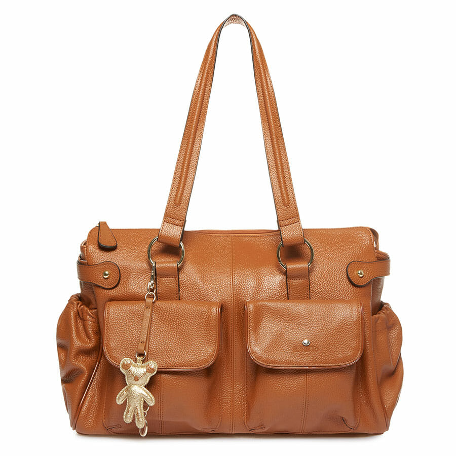 Il Tutto Mia Leather Tote Baby Bag Tan front