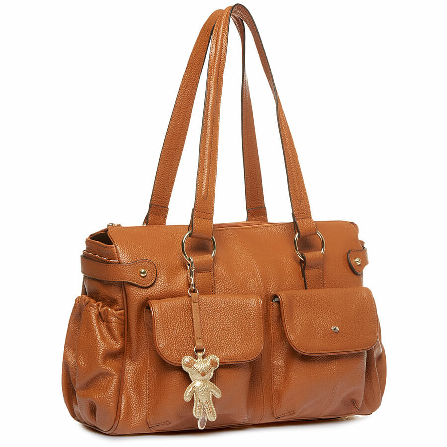 Il Tutto Mia Leather Tote Baby Bag Tan ANGLE