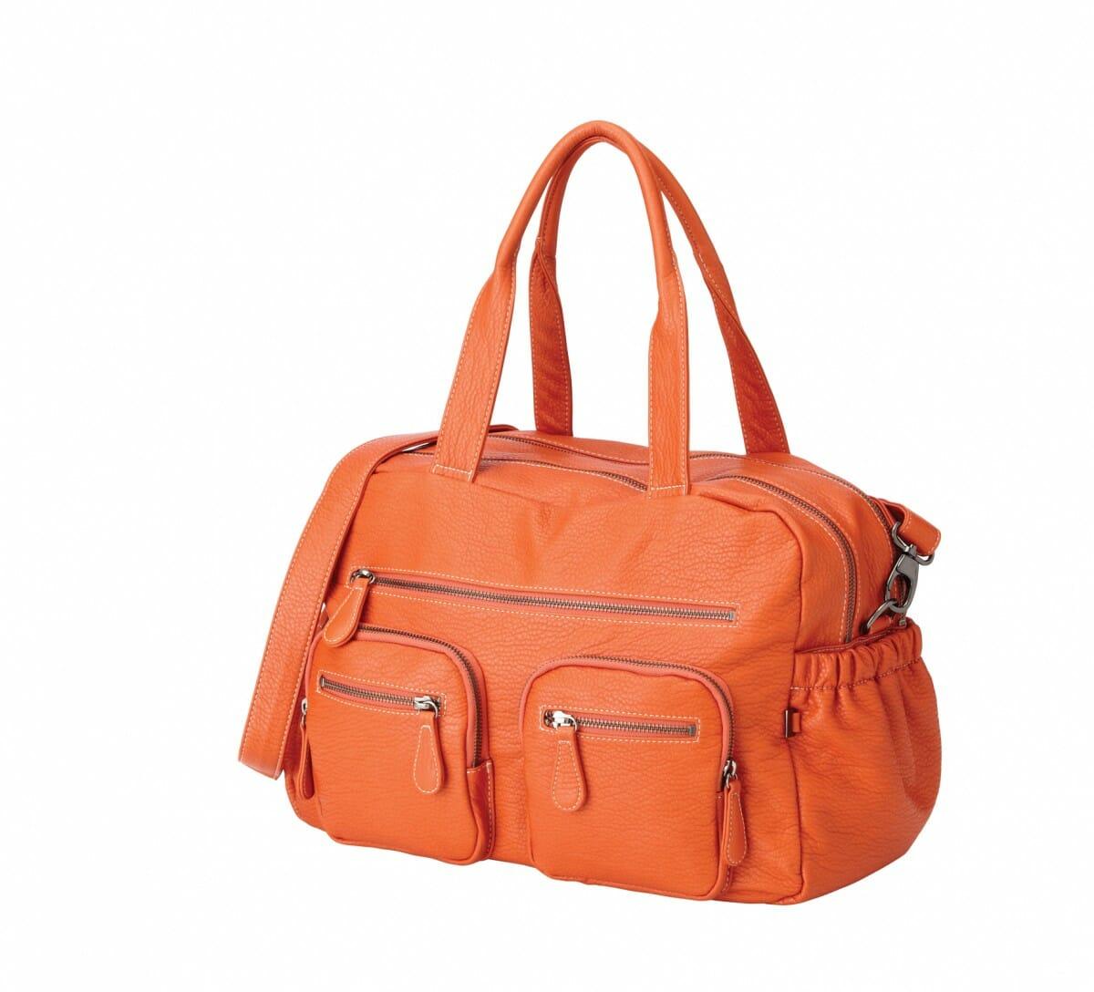 OiOi Tangerine Faux Buffalo Carry All Nappy Bag Angle