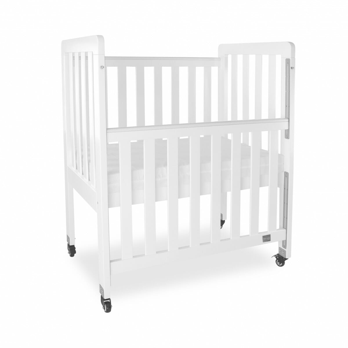 babyhood Mini Ergonomic Cot - White Angle dropside down