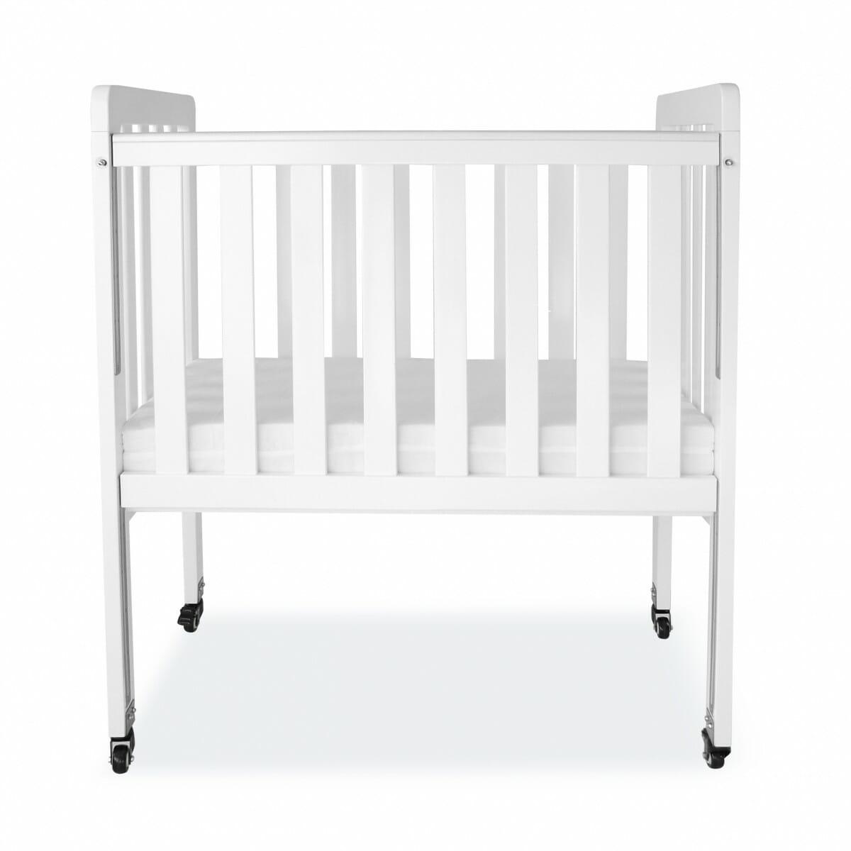 babyhood Mini Ergonomic Cot - White dropside up
