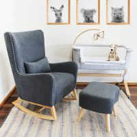 Babyhood Valencia Rocking Chair Charcoal Grey Lifestyle