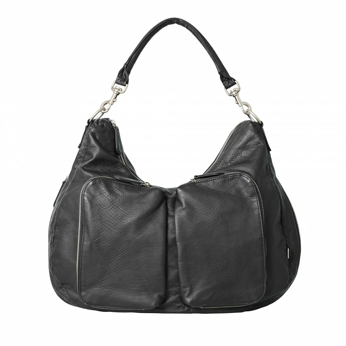 OiOi Black Faux Lizard Insulated Two Pocket Hobo Nappy Bag Front