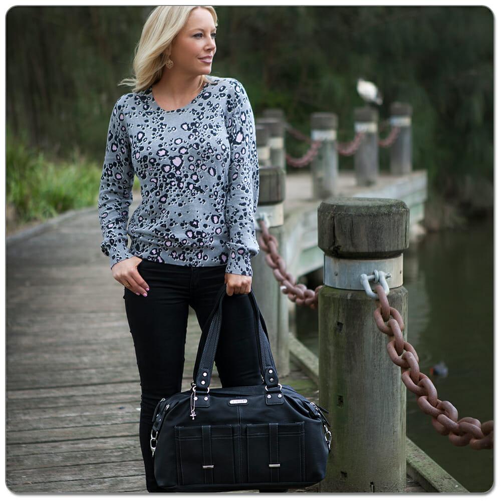 Vanchi Florence Traveler Nappy Bag Black Lifestyle