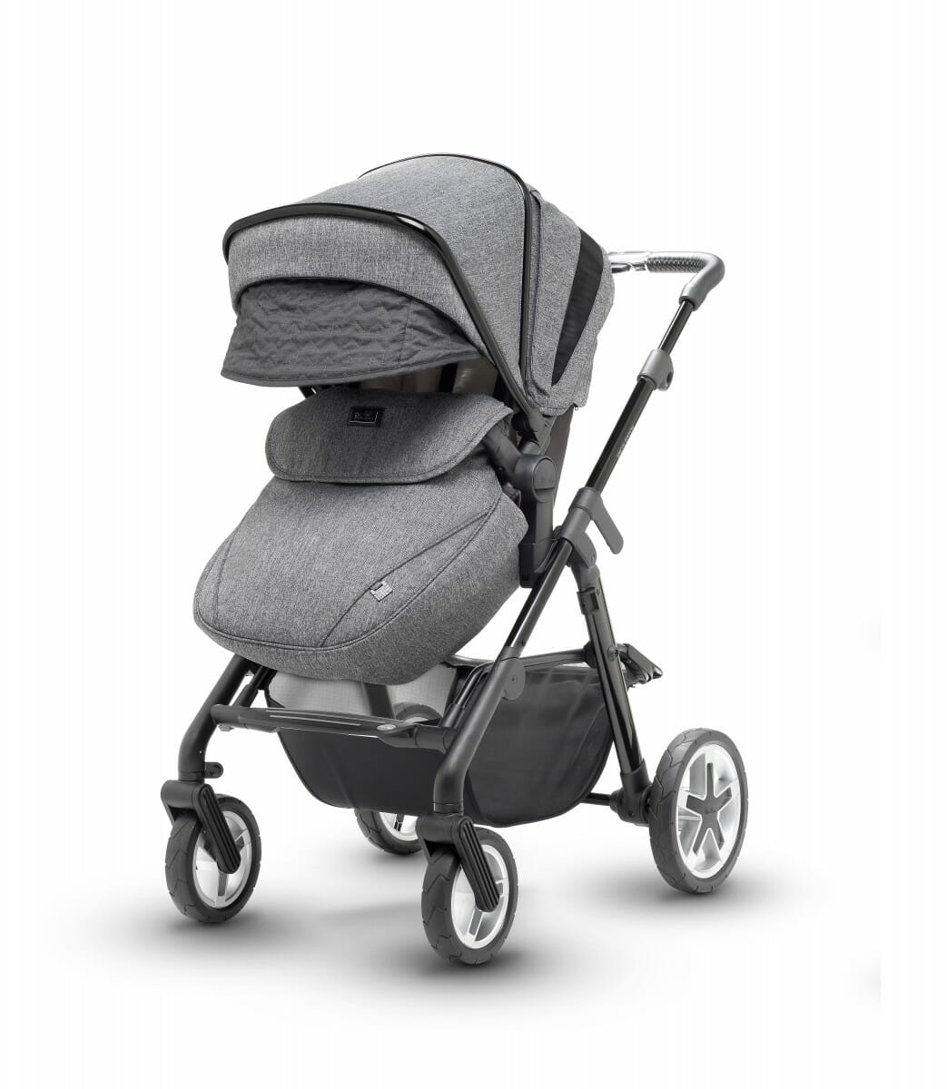 Silver Cross Pioneer Monomarque Pushchair Angle View Hood Extended