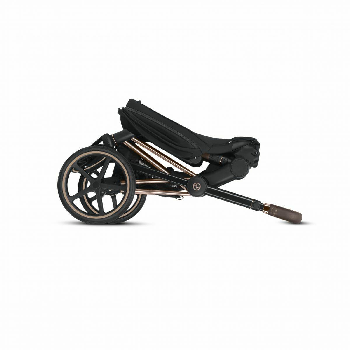 Cybex Priam Rose Gold Frame Black Seat Full Fold