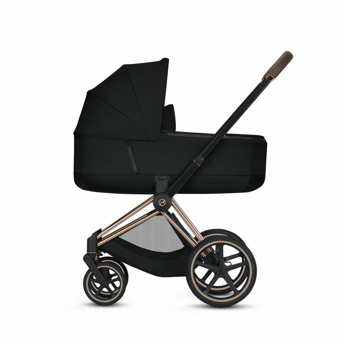 Cybex Priam Rose Gold With Black Carry Cot Side View 2