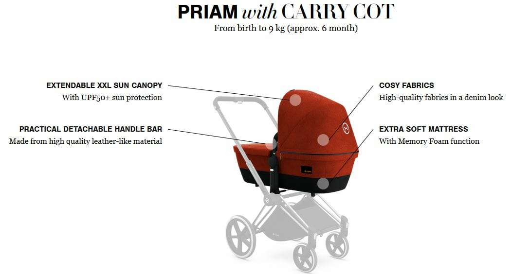 Cybex Priam With Carry Cot Features