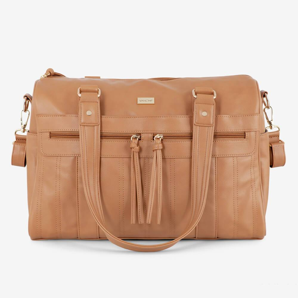Vanchi Indie Holdall Angle Camel Front