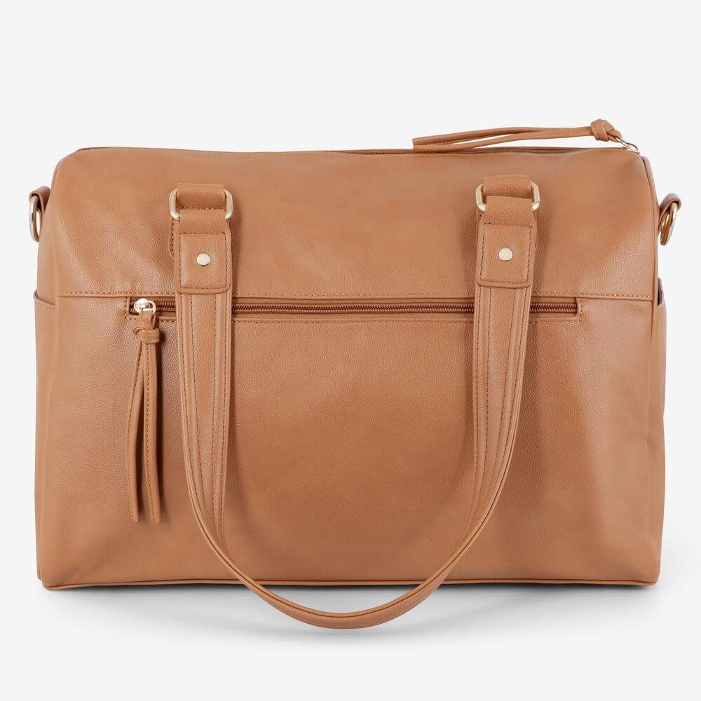 Vanchi Indie Holdall Angle Camel Handle Down Rear