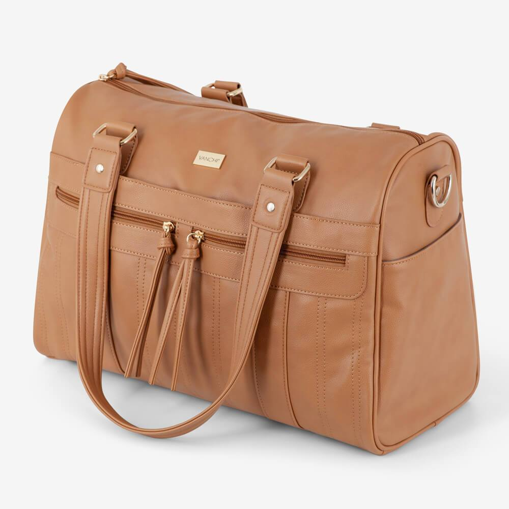 Vanchi Indie Holdall Angle Camel Handle Down