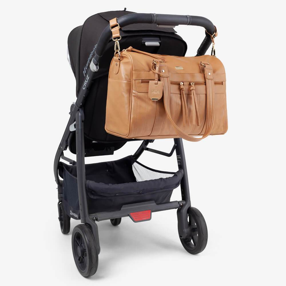 Vanchi Indie Holdall Angle Camel On Pram