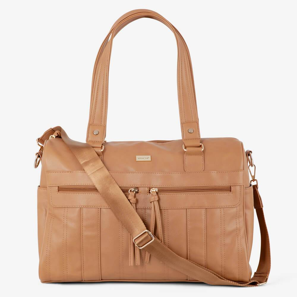 Vanchi Indie Holdall Angle Camel Strap