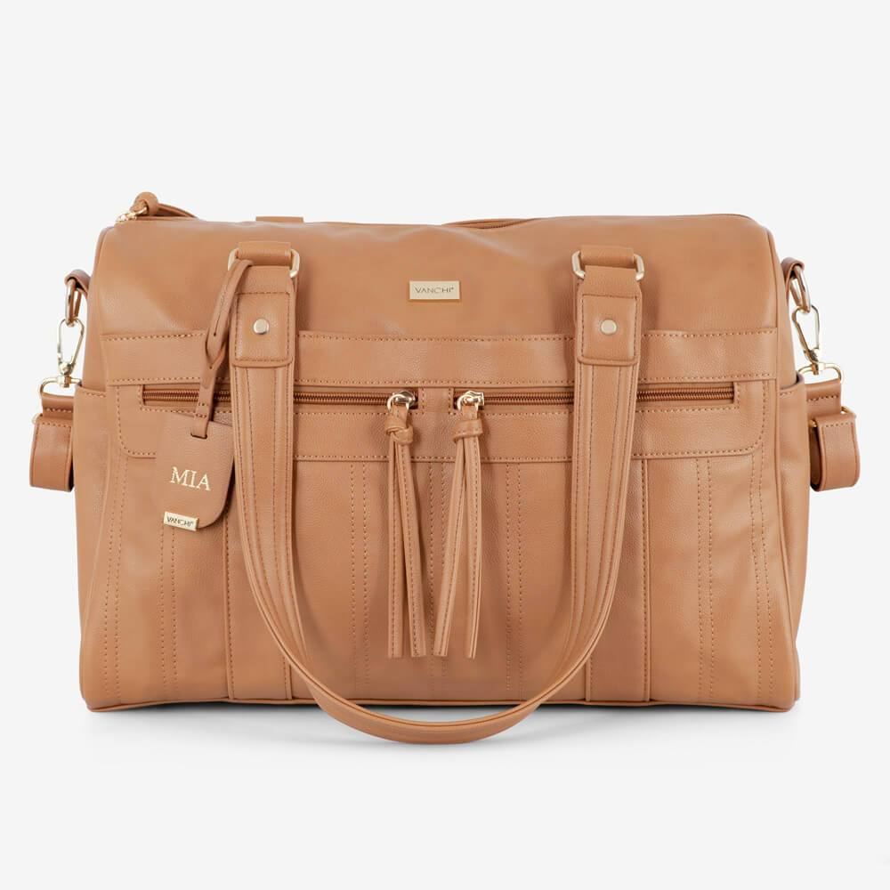 Vanchi Indie Holdall Angle Camel Tassles