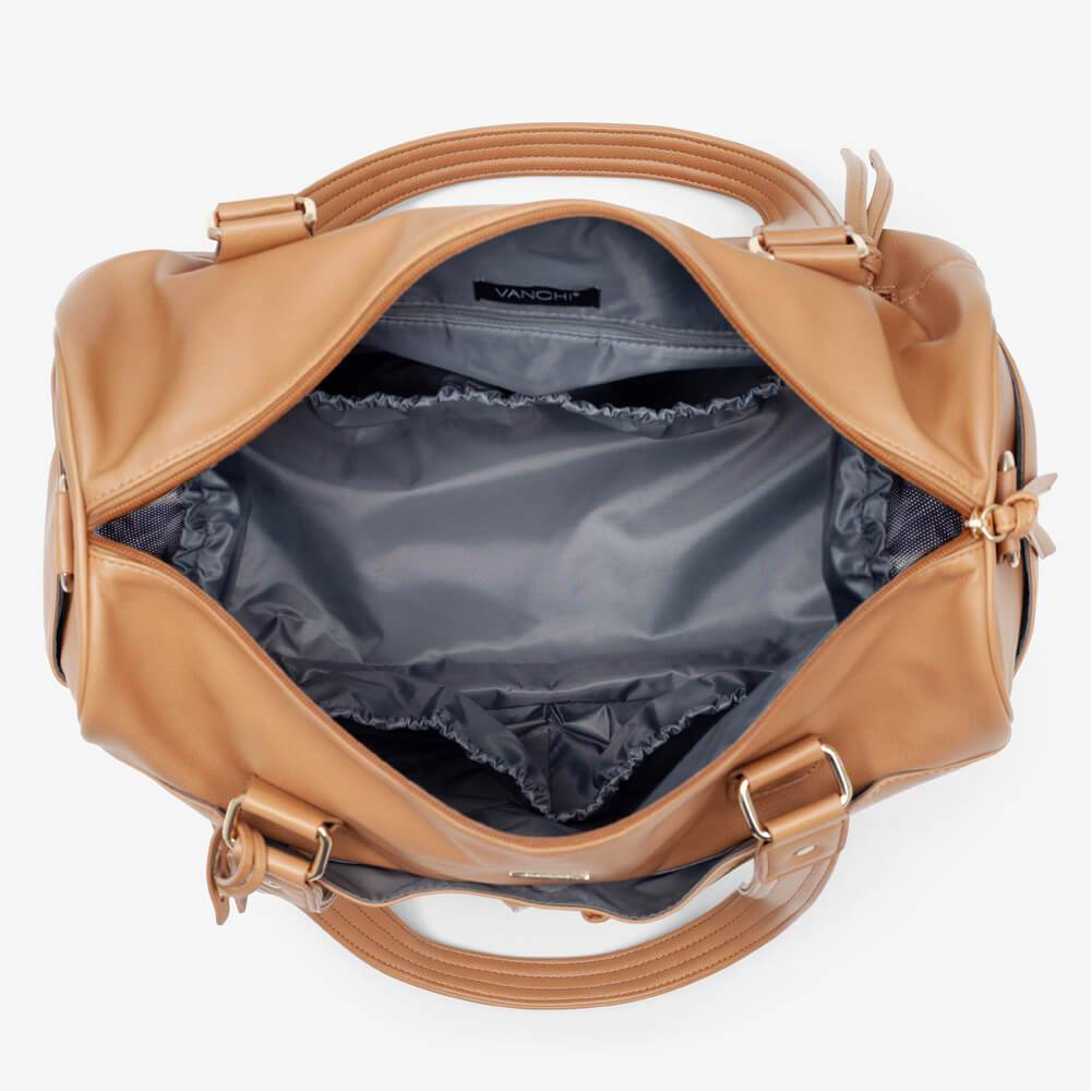 Vanchi Indie Holdall Angle Camel Open