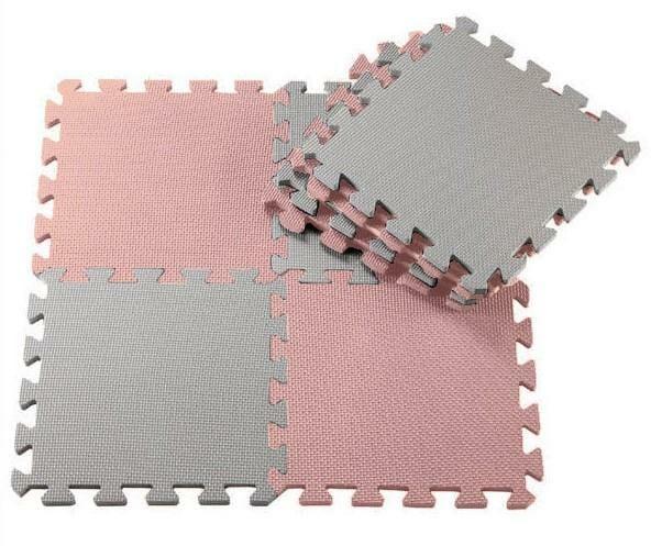 Babyleisure Puzzle Floor Mat Pink Grey