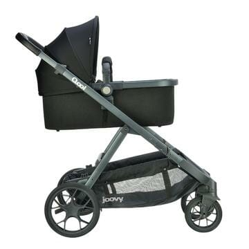 Joovy Qool Bassinet On Stroller Side View Upper Position
