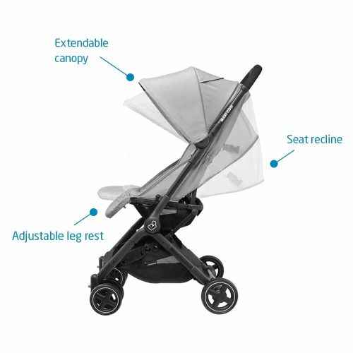 Lightweight Ultra Compact Stroller Nomad Grey Side Features