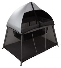 Bebe Care In & Out Travel Cot Black Silver (w Canopy)