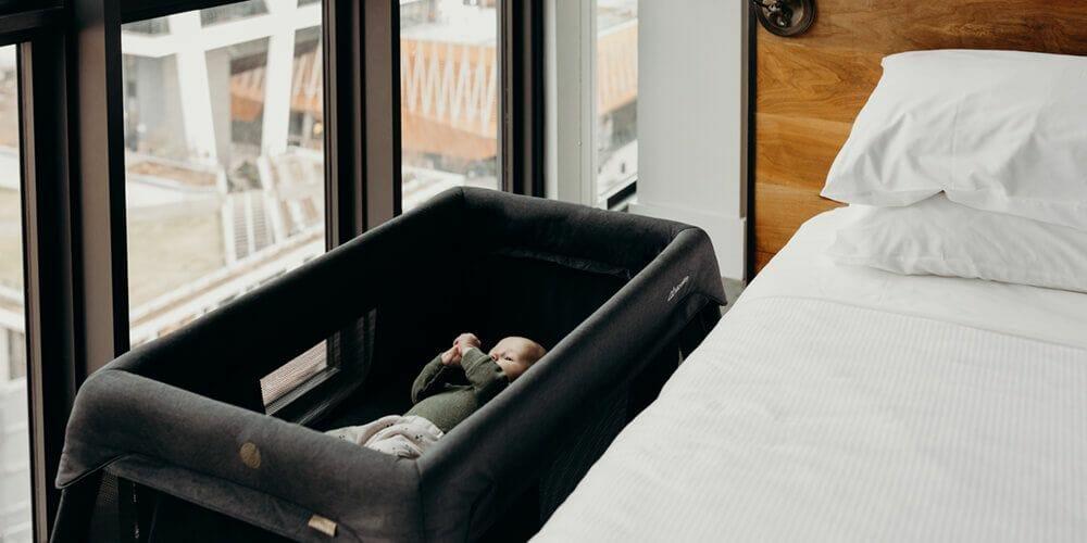 Silver Cross Micralite Sleep & Go Travel Cot Lifestyle Newborn