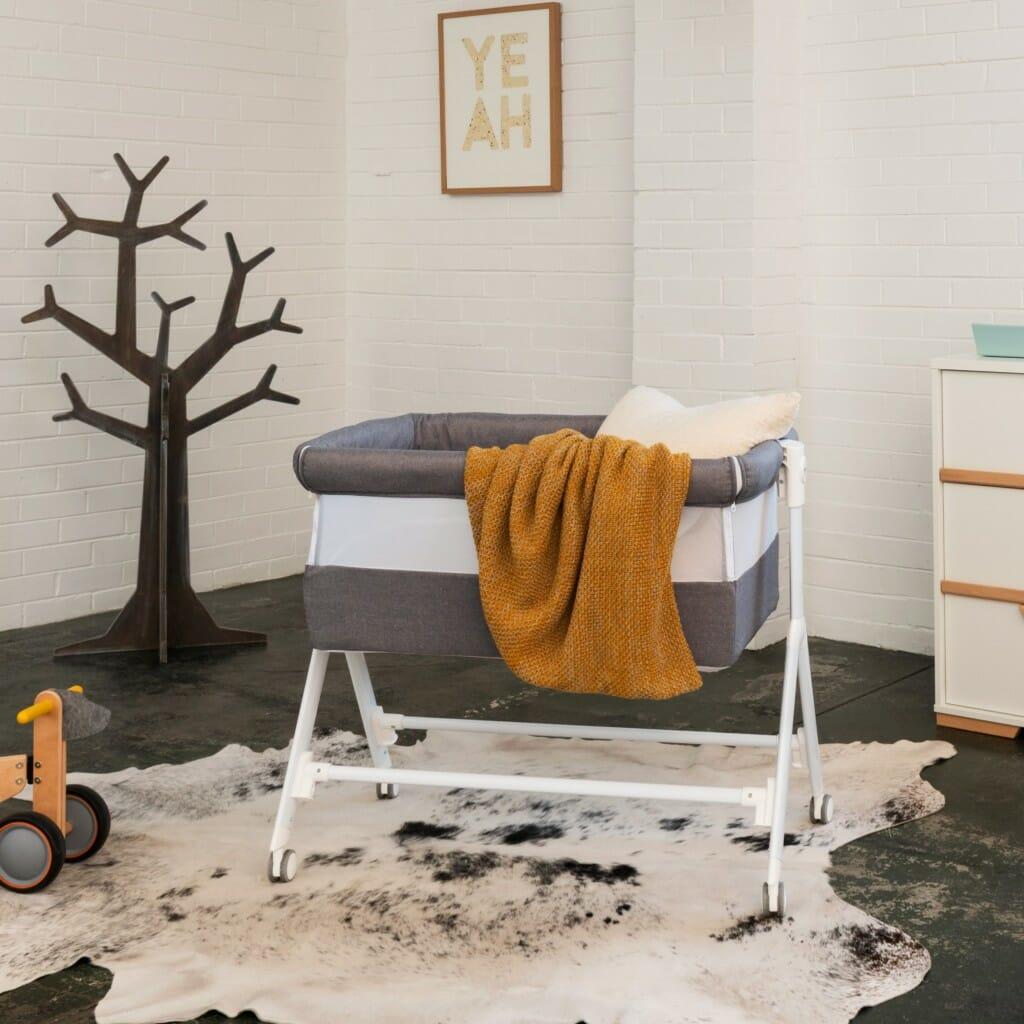 Babyrest Aria Bedside Bassinet Grey Lifestyle