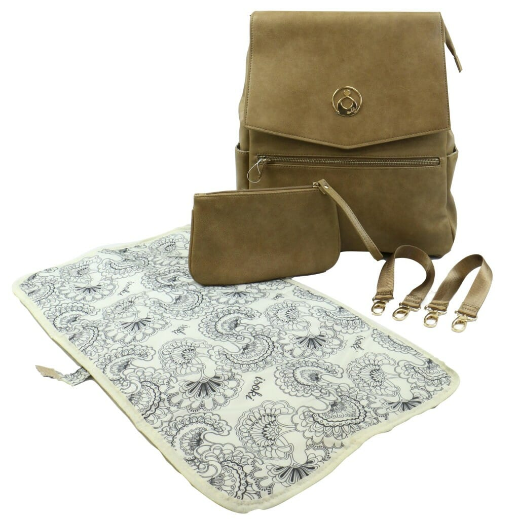 Isoki Hartley Backpack Latte Angle With Accessories