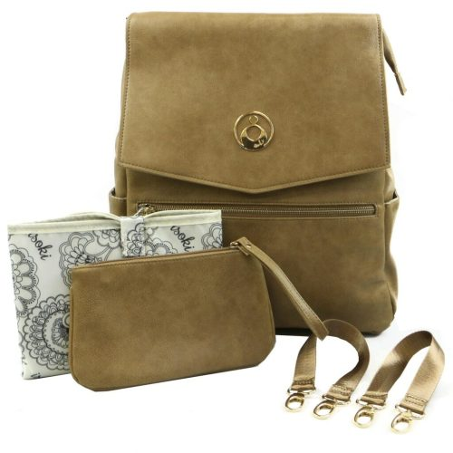 Isoki Hartley Backpack Latte Front With Accessories